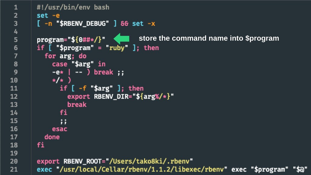 store the command name into $program ⬅︎