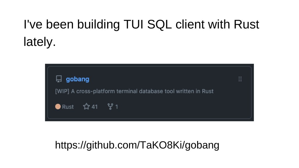 I've been building TUI SQL client with Rust lat...