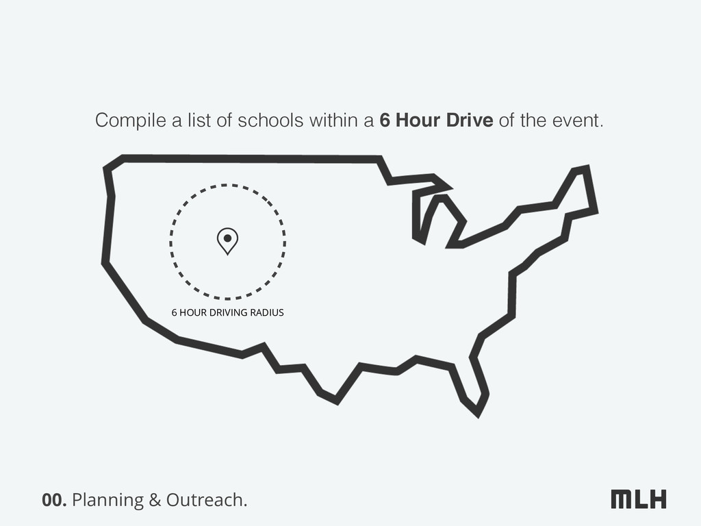 00. Planning & Outreach. 6 HOUR DRIVING RADIUS ...