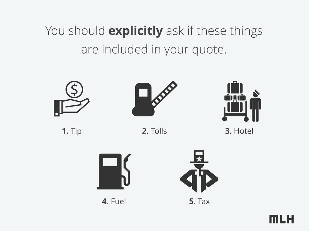 1. Tip 3. Hotel 4. Fuel 5. Tax You should expli...