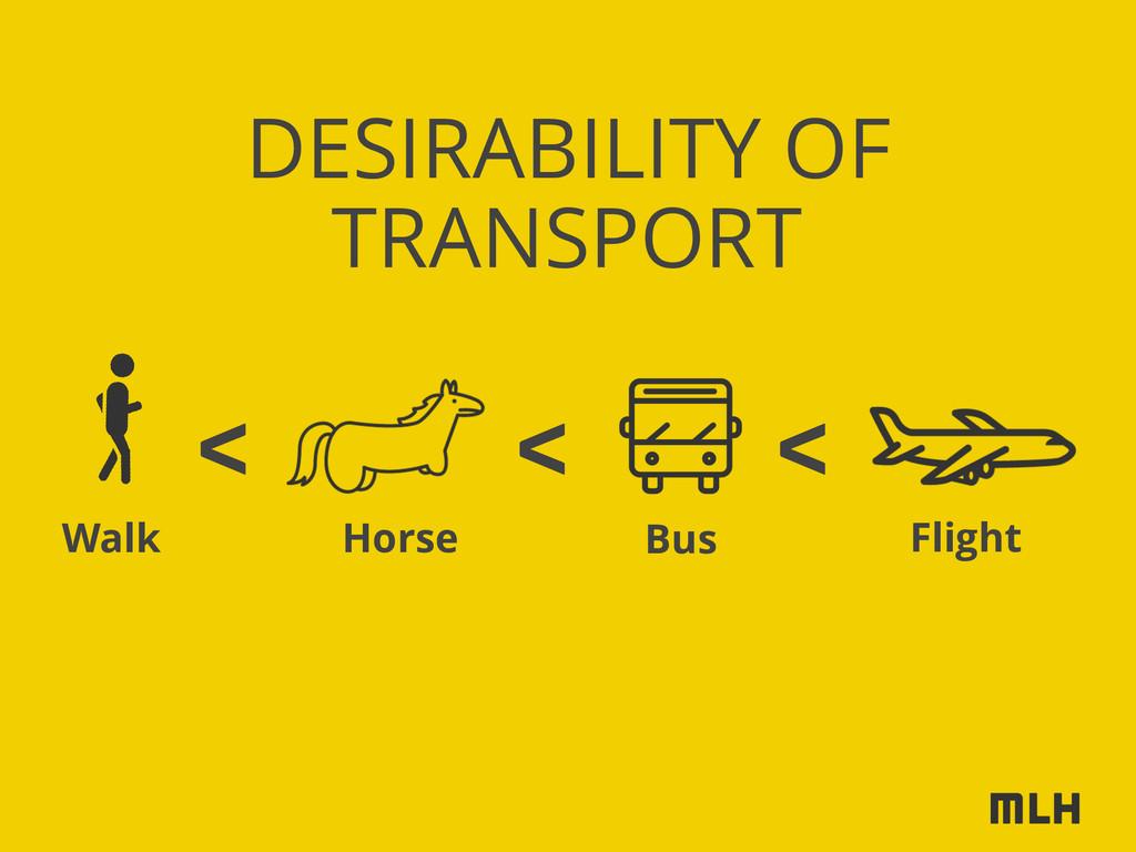 DESIRABILITY OF < < < TRANSPORT Horse Walk Bus ...