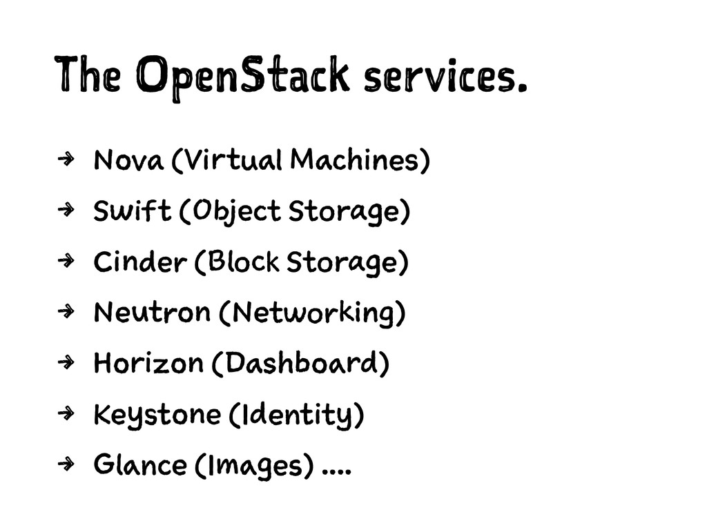 The OpenStack services. 4 Nova (Virtual Machine...