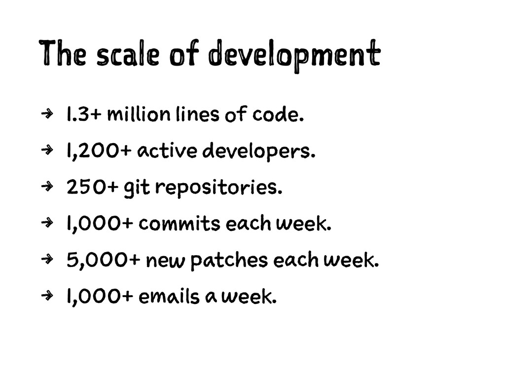 The scale of development 4 1.3+ million lines o...