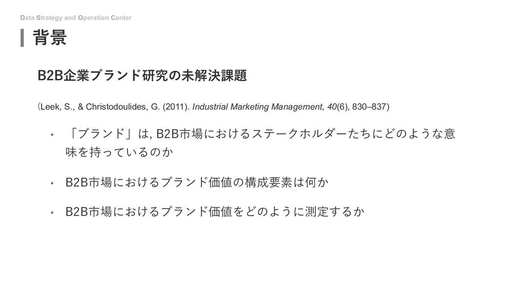 Data Strategy and Operation Center 背景 B2B企業ブランド...