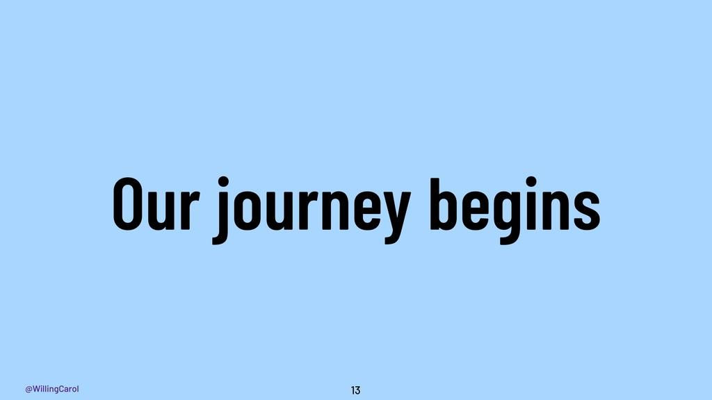 @WillingCarol Our journey begins 13