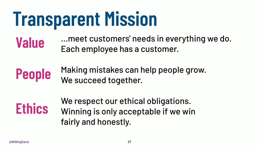 @WillingCarol 27 Transparent Mission Ethics ......