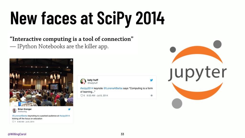 @WillingCarol 33 New faces at SciPy 2014