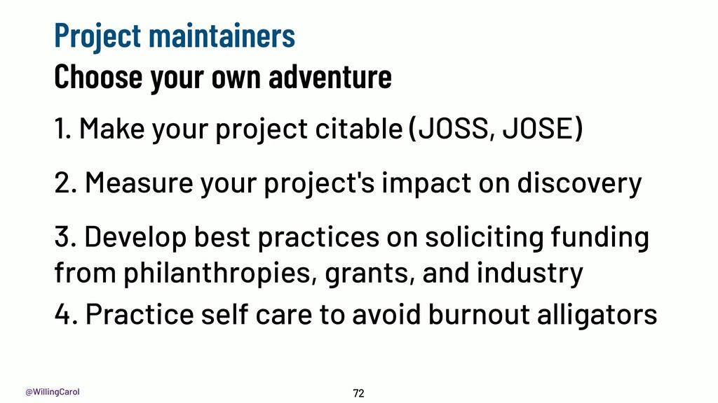 @WillingCarol 1. Make your project citable (JOS...