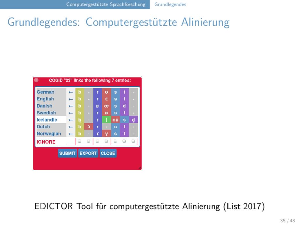 Computergestützte Sprachforschung Grundlegendes...