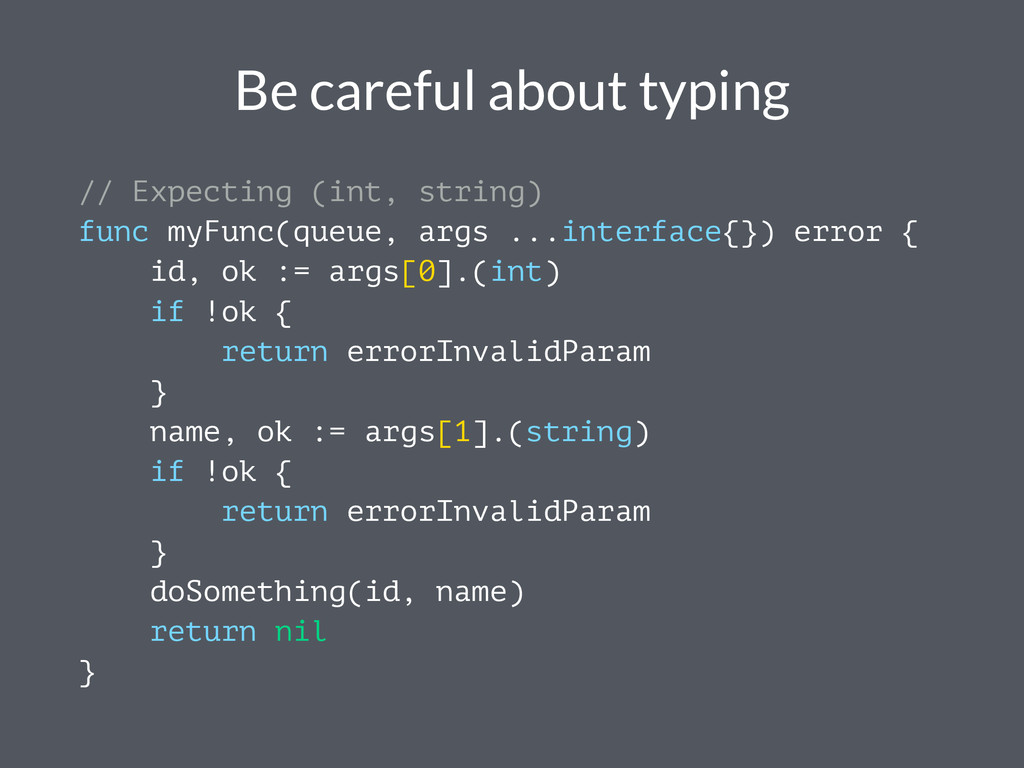 Be careful about typing // Expecting (int, stri...