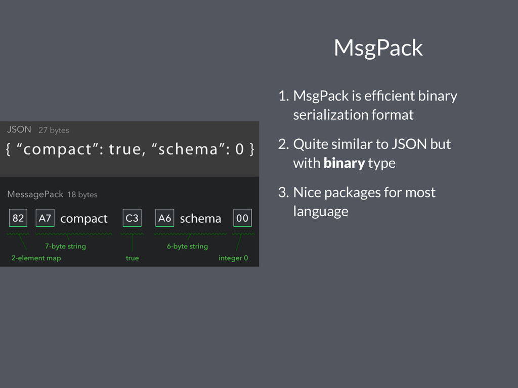 MsgPack 1. MsgPack is efficient binary serializa...