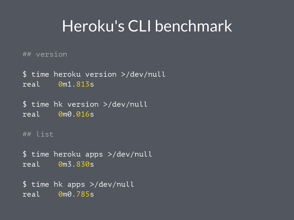 Heroku's CLI benchmark ## version $ time heroku...
