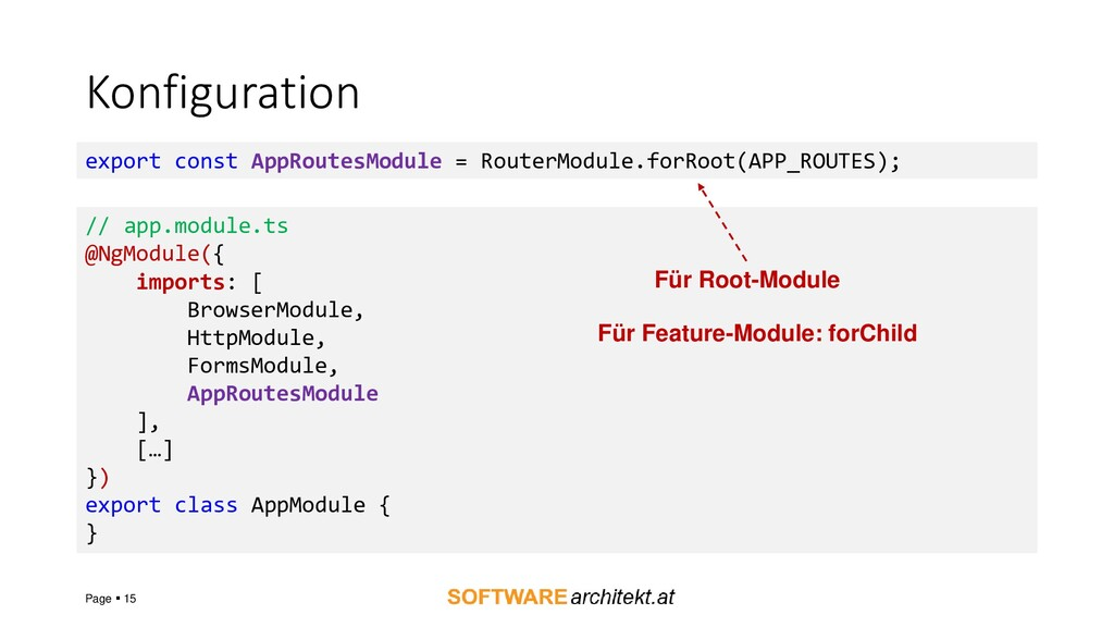 Konfiguration Page ▪ 15 export const AppRoutesM...