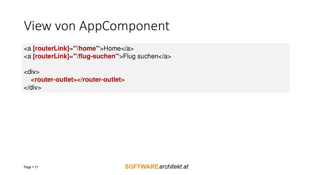 View von AppComponent Page ▪ 17 <a [routerLink]...
