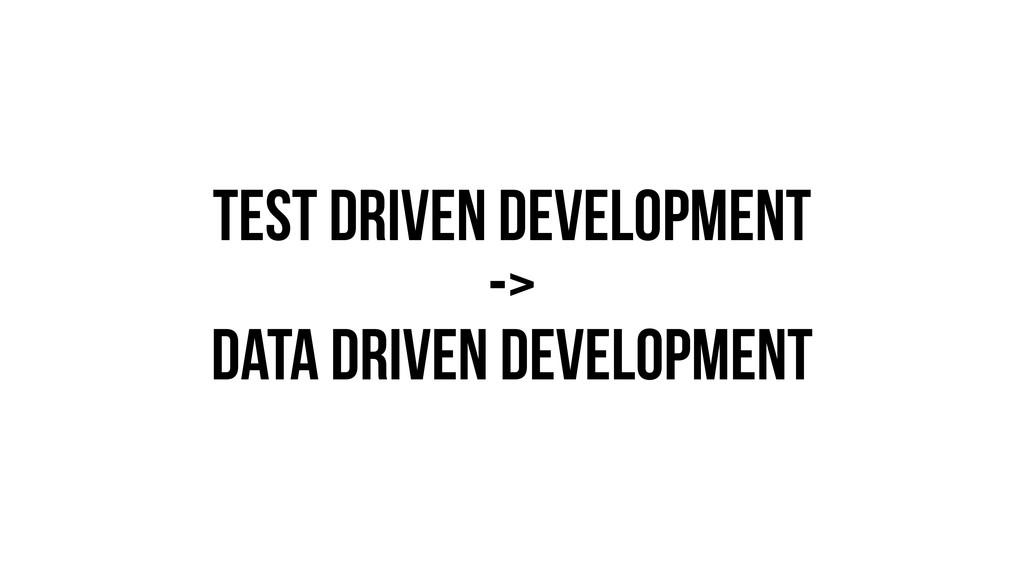 Test driven development -> data driven developm...