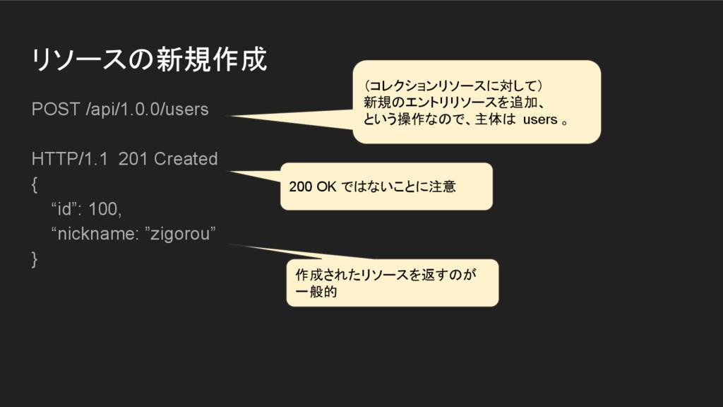 リソースの新規作成 POST /api/1.0.0/users HTTP/1.1 201 Cr...