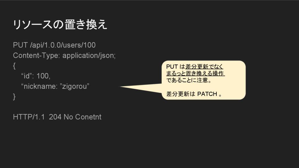 リソースの置き換え PUT /api/1.0.0/users/100 Content-Type...