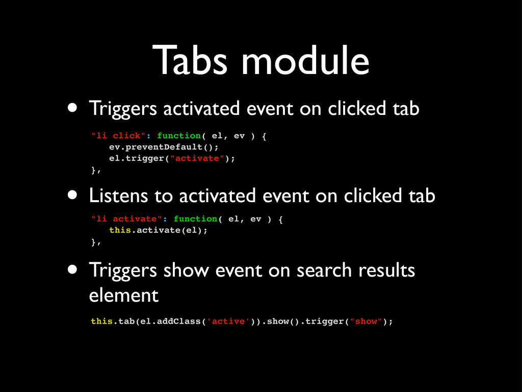 Tabs module • Triggers activated event on click...