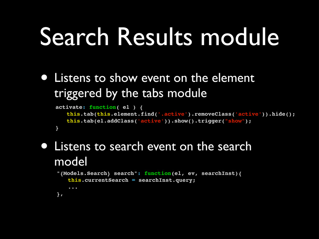 Search Results module • Listens to show event o...