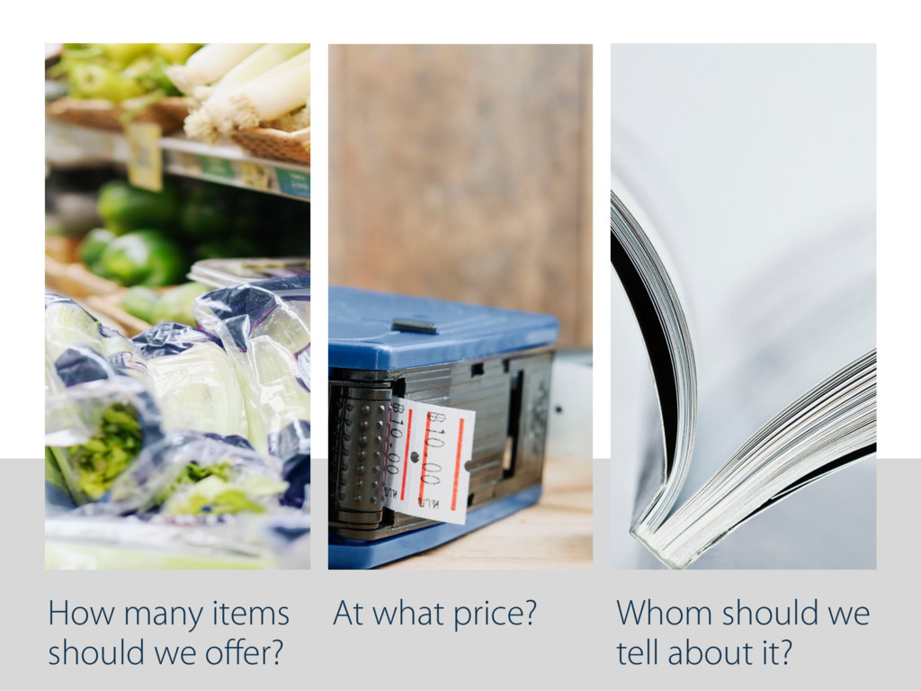 How many items should we offer? At what price? W...