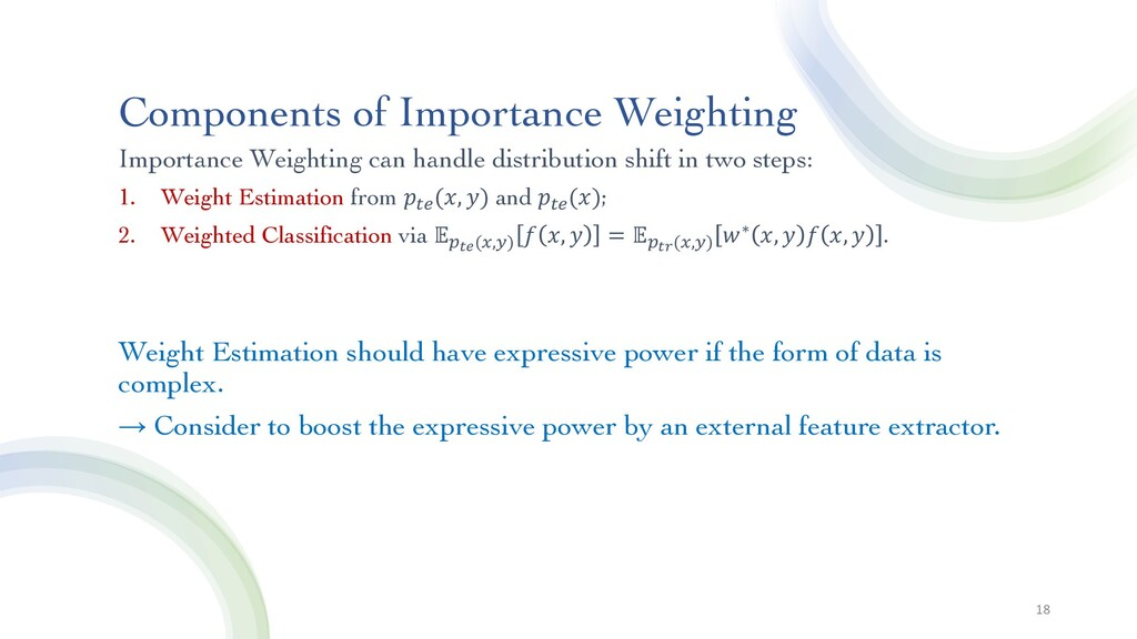 Components of Importance Weighting Importance W...