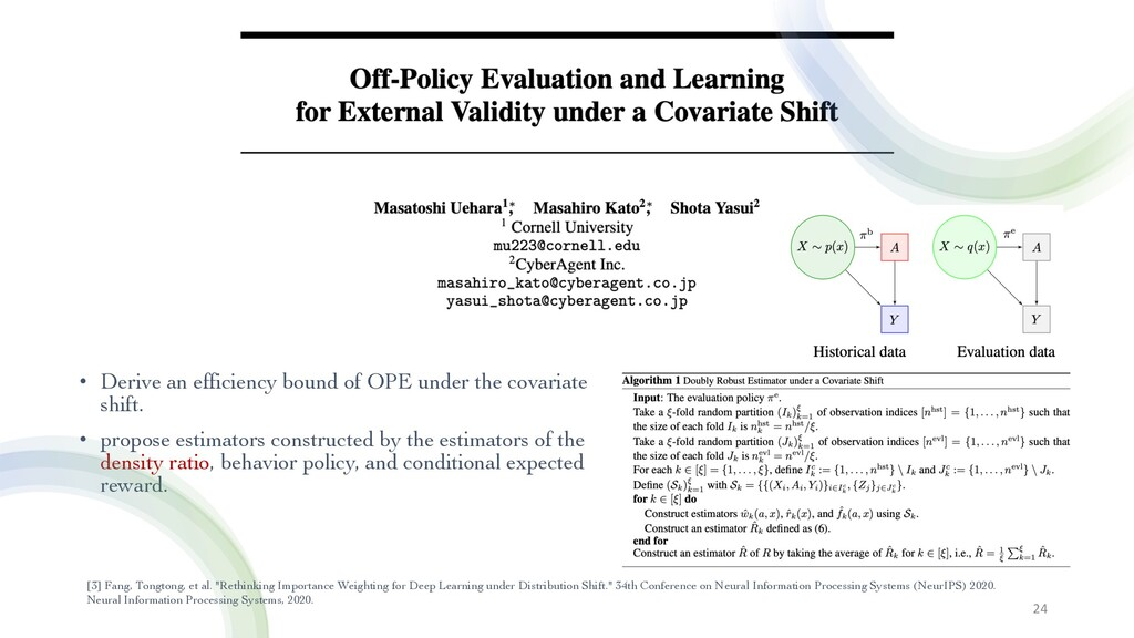 • Derive an efficiency bound of OPE under the c...