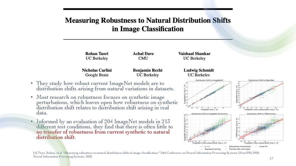• They study how robust current ImageNet models...