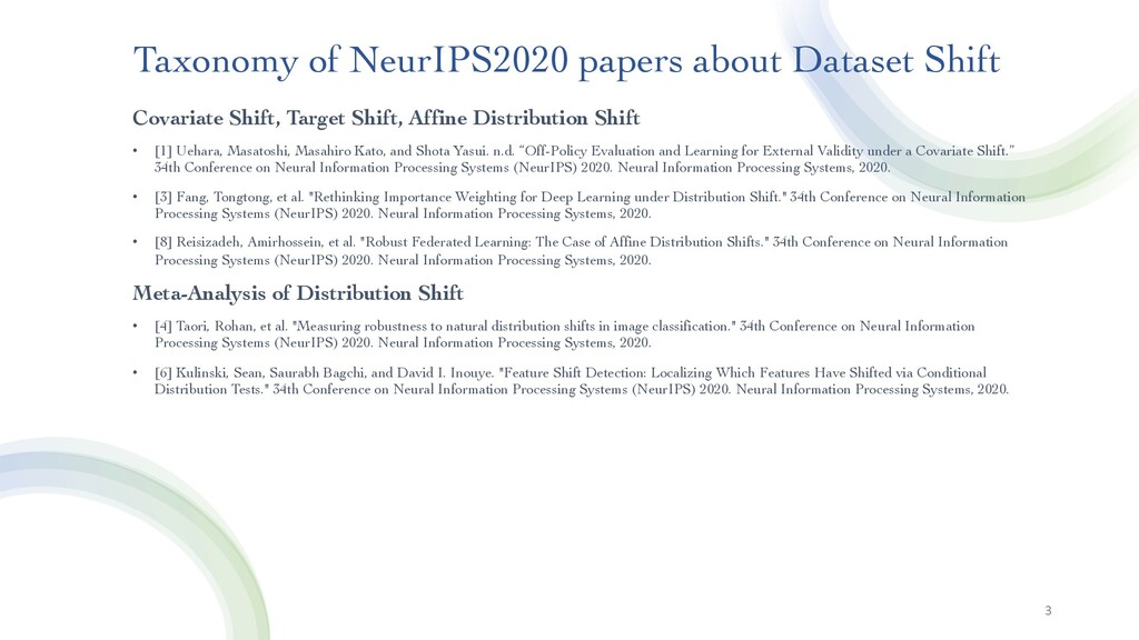 3 Taxonomy of NeurIPS2020 papers about Dataset ...