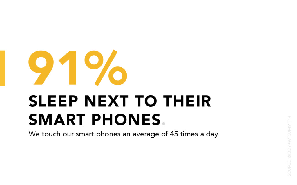 SLEEP NEXT TO THEIR SMART PHONES. 91% We touch ...
