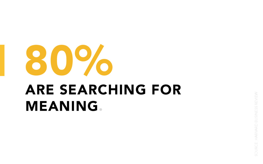 ARE SEARCHING FOR MEANING. 80% SOURCE: HARVARD ...