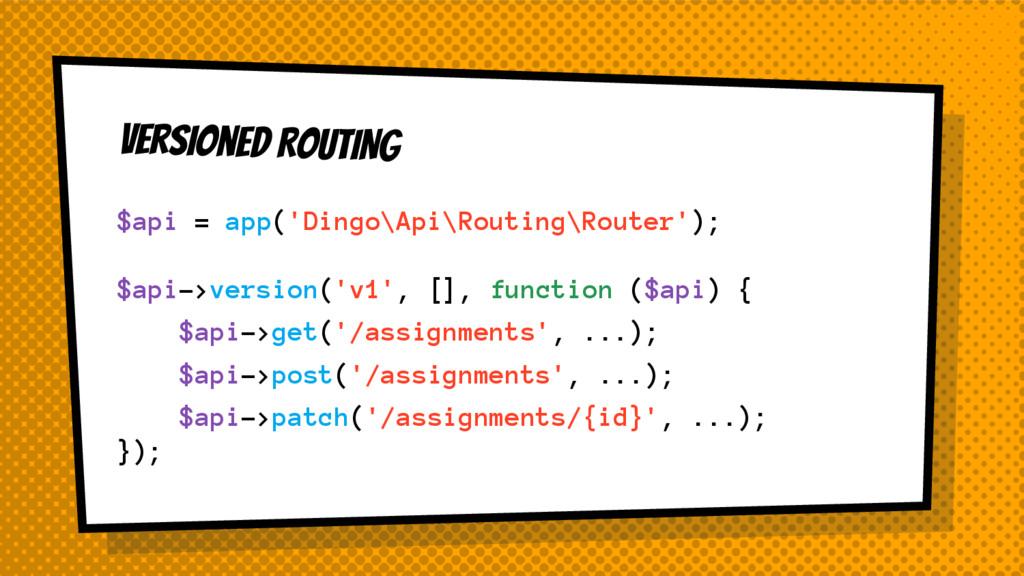 Versioned ROUTING $api = app('Dingo\Api\Routing...