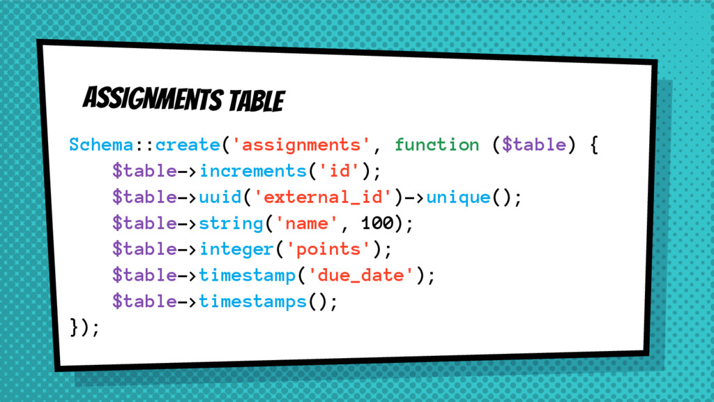 Assignments Table Schema::create('assignments',...