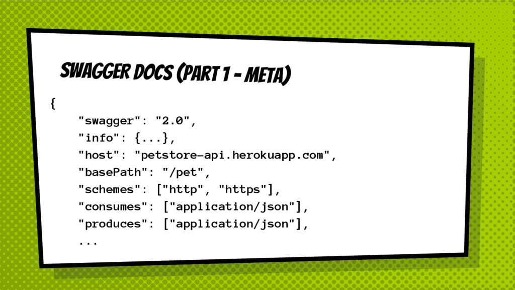 "SWAGGER DOCS (Part 1 - Meta) { ""swagger"": ""2.0""..."