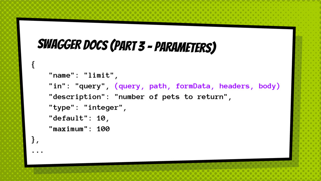 "SWAGGER DOCS (Part 3 - PARAMeters) { ""name"": ""l..."
