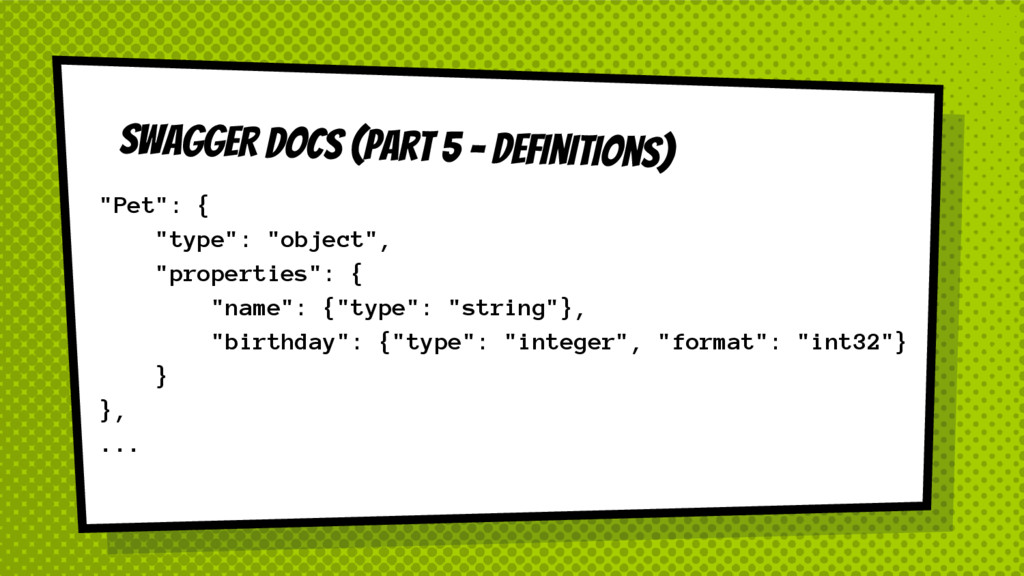 "SWAGGER DOCS (Part 5 - Definitions) ""Pet"": { ""t..."