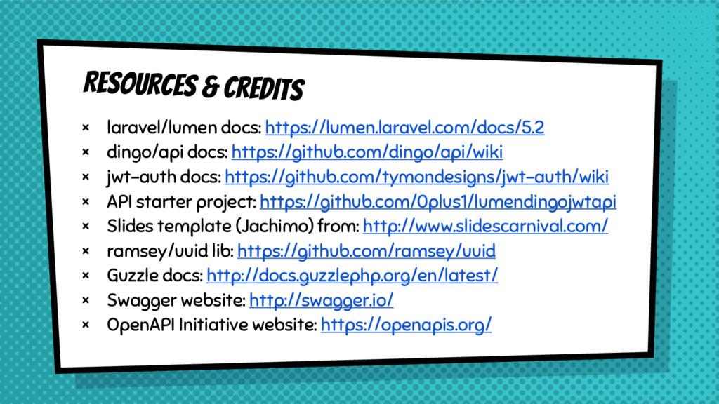 Resources & CREDITS × laravel/lumen docs: https...