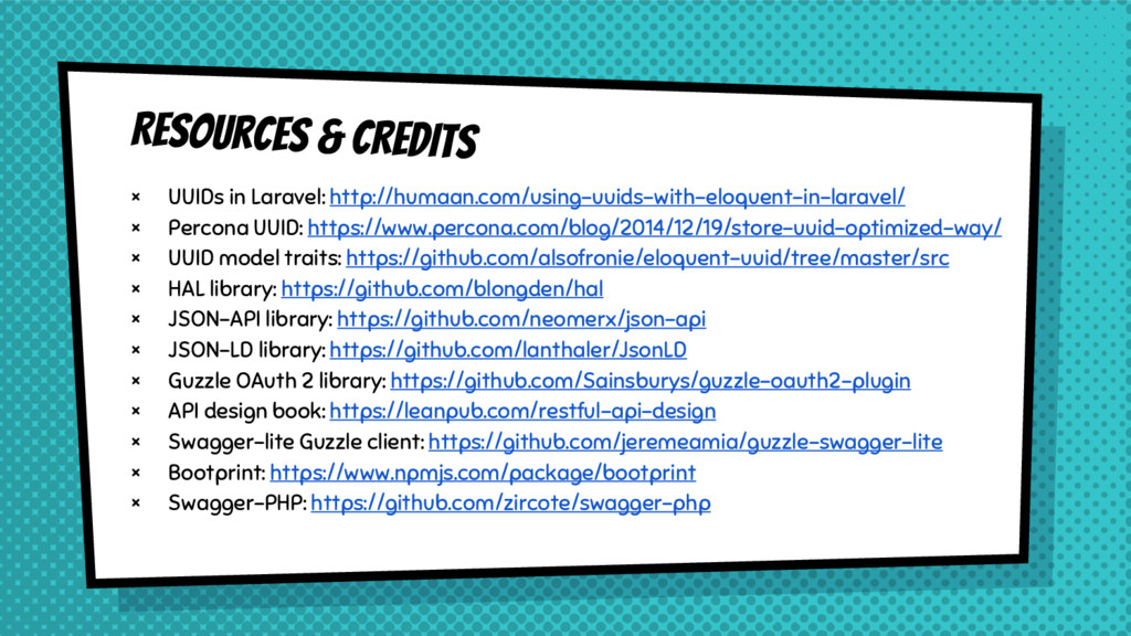 Resources & CREDITS × UUIDs in Laravel: http://...