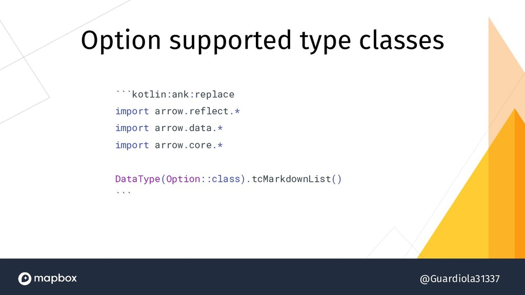 @Guardiola31337 Option supported type classes `...