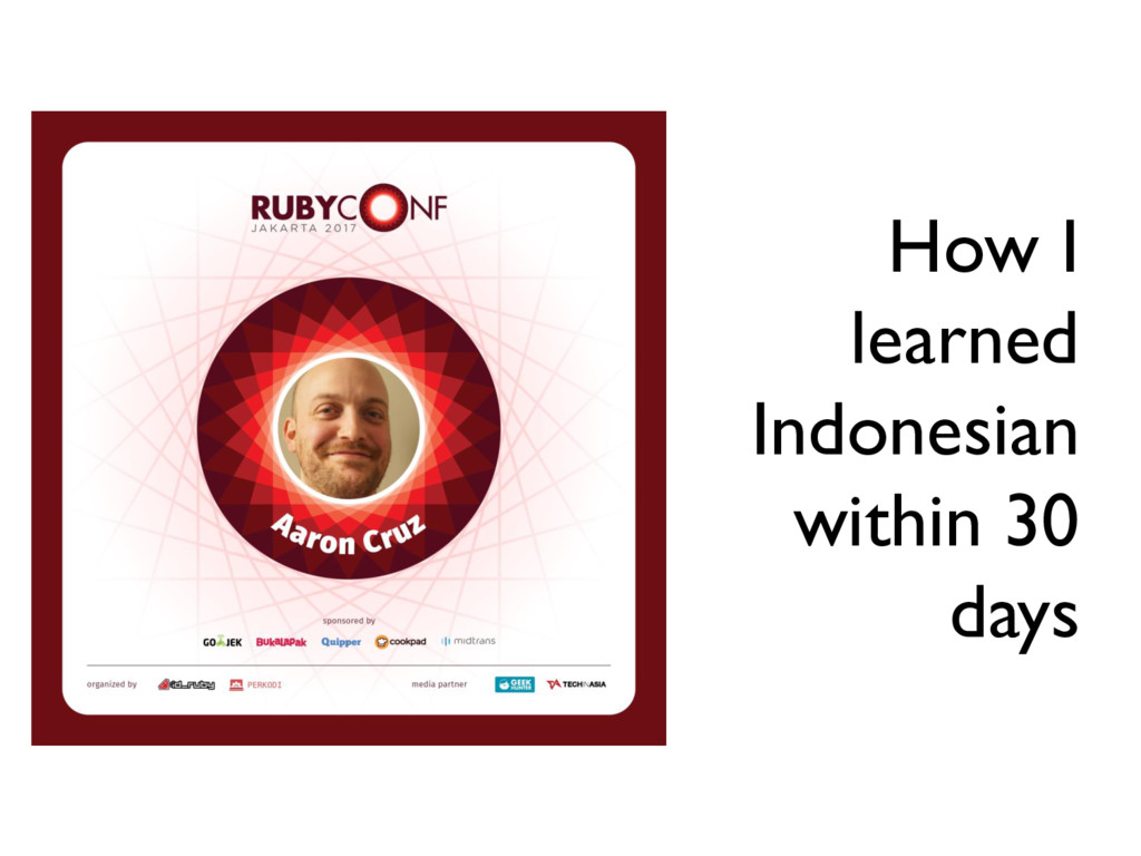 How I learned Indonesian within 30 days
