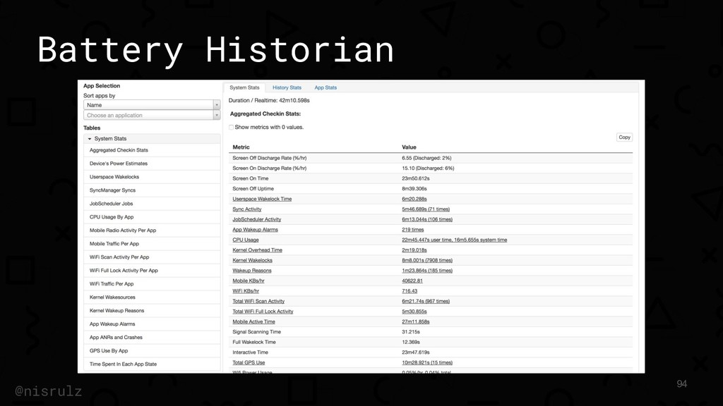 Battery Historian 94 @nisrulz