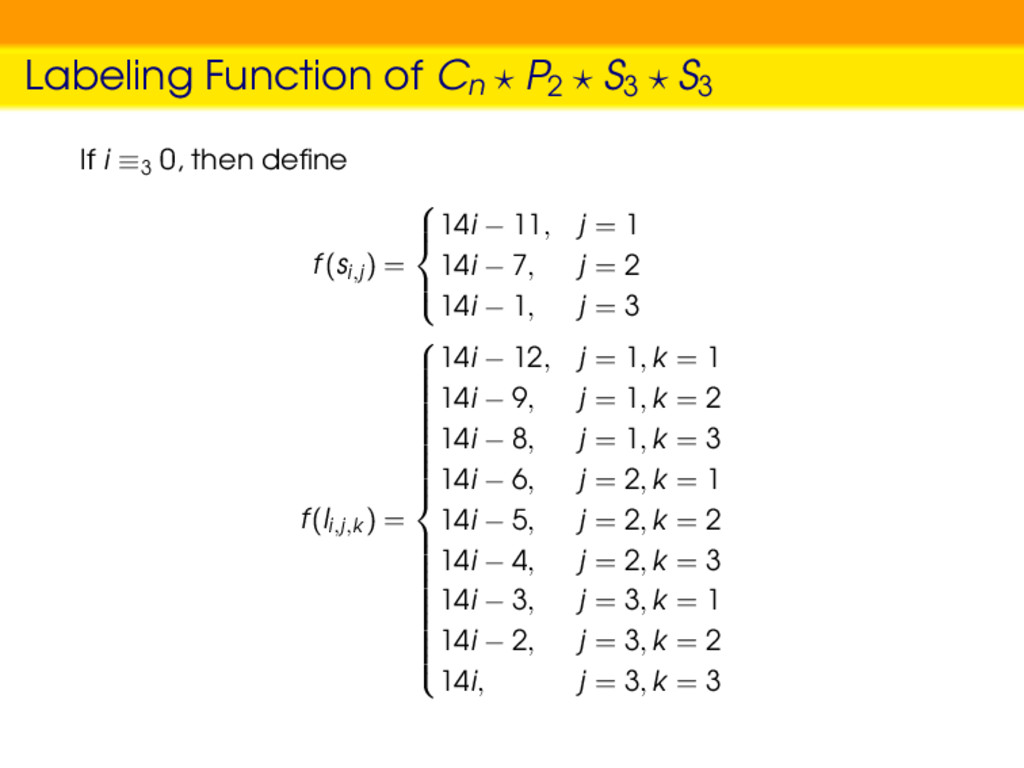 Labeling Function of Cn P2 S3 S3 If i ≡3 0, the...