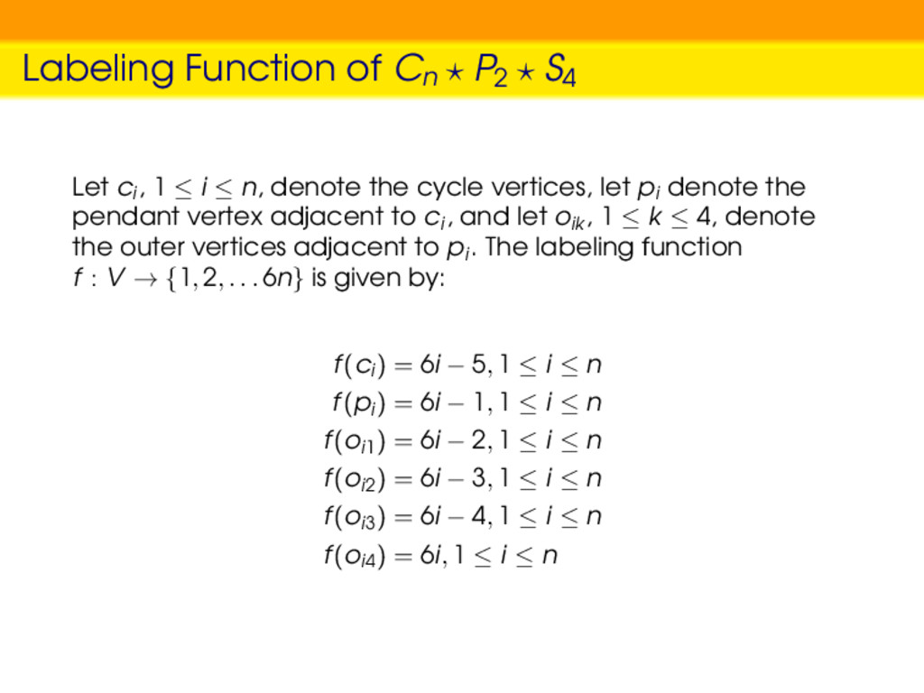 Labeling Function of Cn P2 S4 Let ci , 1 ≤ i ≤ ...