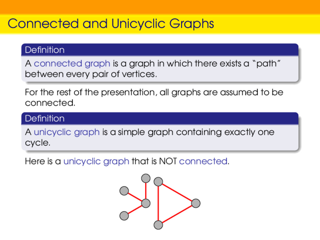 Connected and Unicyclic Graphs Definition A conn...