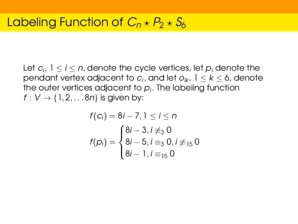 Labeling Function of Cn P2 S6 Let ci , 1 ≤ i ≤ ...