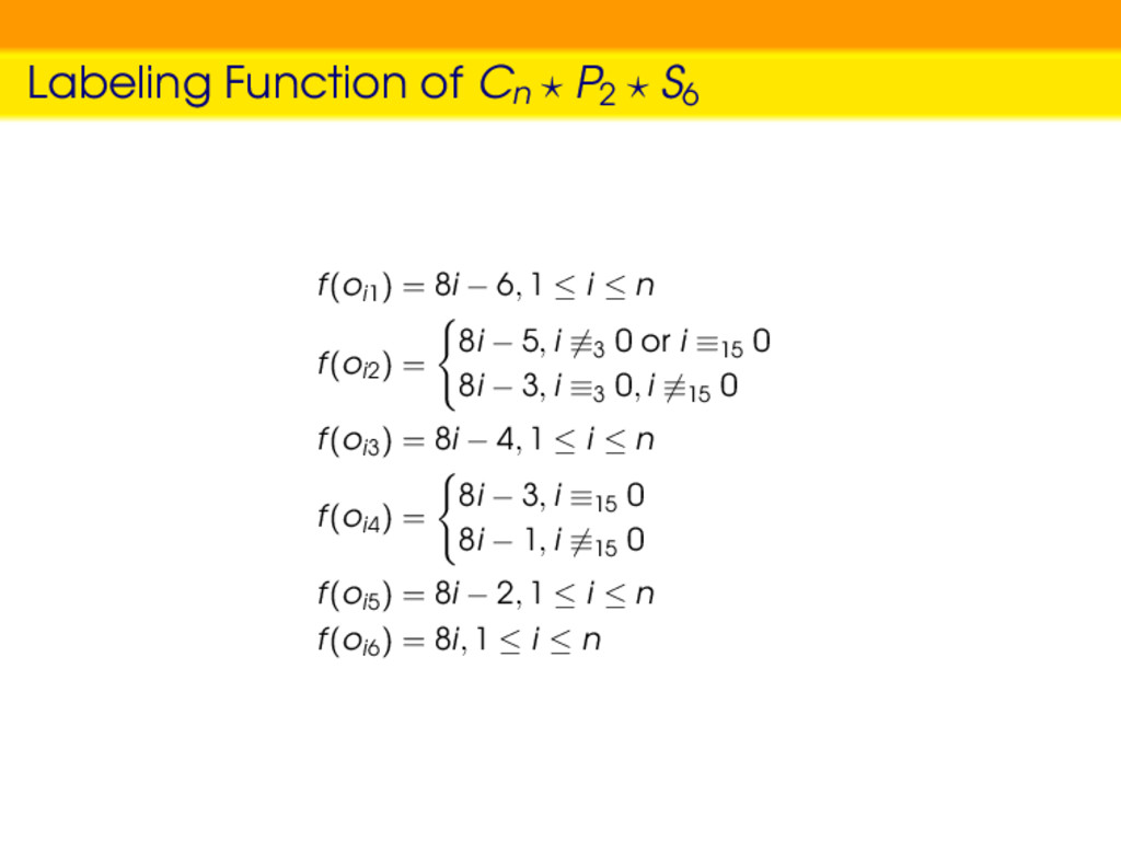 Labeling Function of Cn P2 S6 f(oi1) = 8i − 6, ...