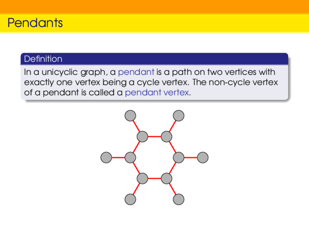 Pendants Definition In a unicyclic graph, a pend...