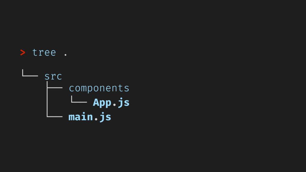 > tree . └── src ├── components │ └── App.js └─...