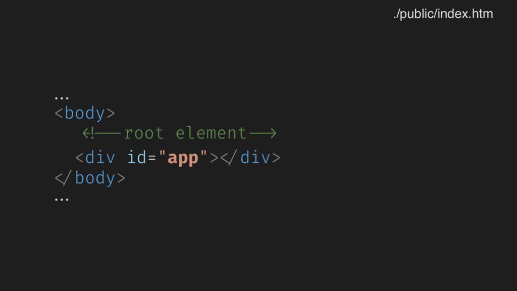 "... <body> <!--root element --> <div id=""app""> ..."