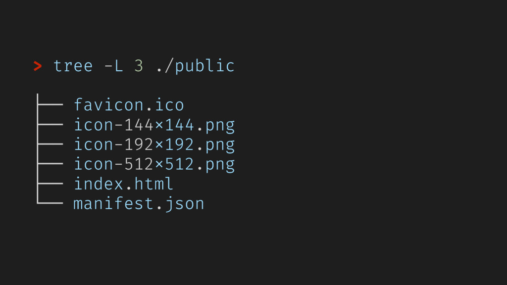 > tree -L 3 ./public ├── favicon.ico ├── icon-1...