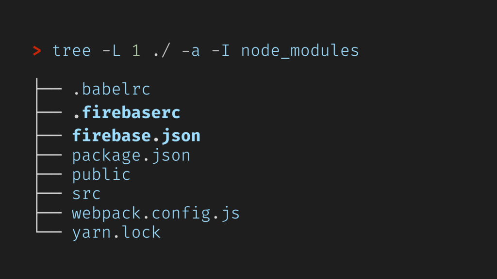 > tree -L 1 ./ -a -I node_modules ├── .babelrc ...